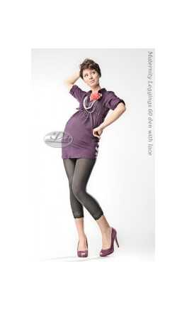 Maternity 3/4 leggings 60den with lace