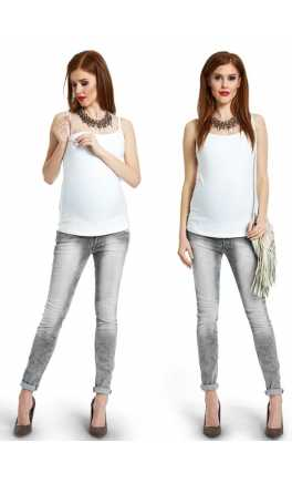 Maternity and nursing top with integrated bra  COTTON TANK WHITE