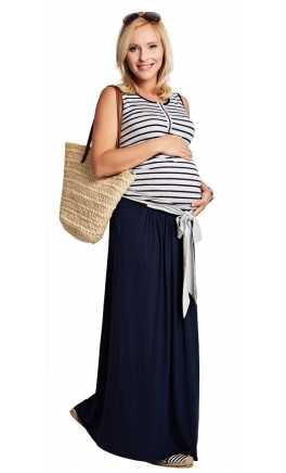 Long pregnancy and after skirt LOFTY Navy